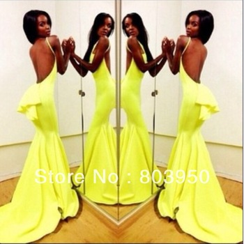 Aliexpress.com : Buy Sexy Vestidos Off The Shoulder Sleeveless Mermaid Chiffon Backless Long Prom Evening Dress 2014 New Arrival DYQ1035 from Reliable dresse suppliers on Love Kiss Evening Dress and Wedding Dress Manufactory