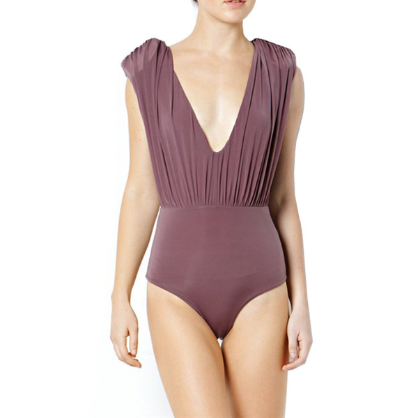 Deep V Neck Shoulder Padded Bodysuit | Emprada