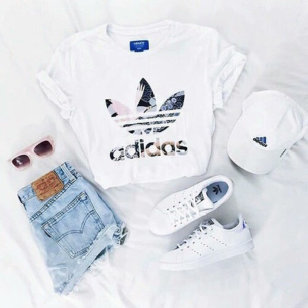 shirt adidas shirt adidas white t shirt outfit adidas superstars cap hat t shirt crop. Black Bedroom Furniture Sets. Home Design Ideas