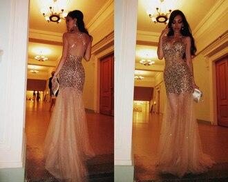 dress gold sequins tulle dress gold dress gold nude backless dress long dress prom dress prom mesh