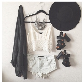 top denim necklace crop tops white top white crop tops shorts cardigan denim shorts jewels silver silver necklace hat shoes dress