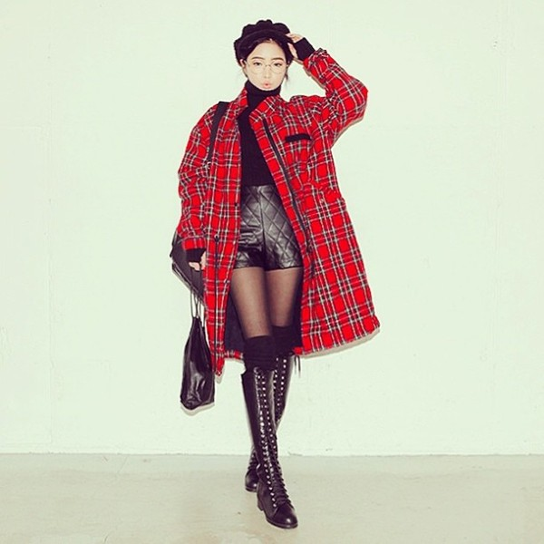 jacket red plaid shorts shoes bag