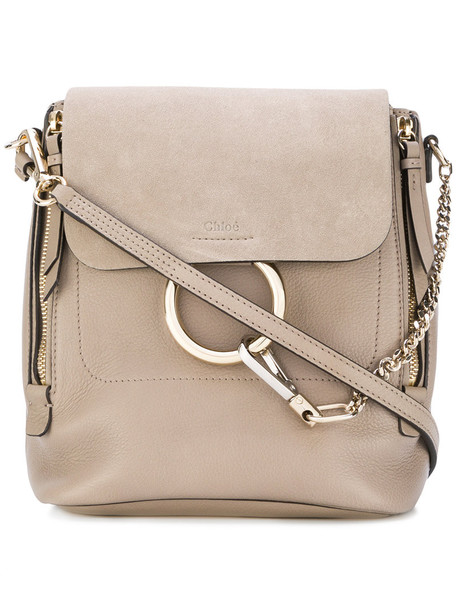 Chloe women backpack leather nude cotton suede bag