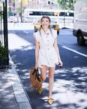 bag,dress,white dress,mules,straw bag,yellow mustard coat