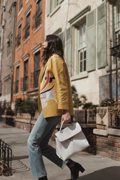 dylana suarez blogger jacket jeans shoes yellow jacket leather jacket handbag spring outfits