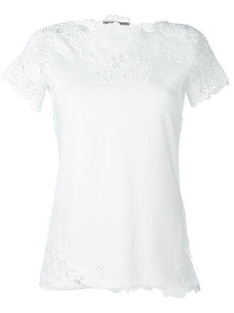 t-shirt shirt embroidered women spandex lace white cotton top