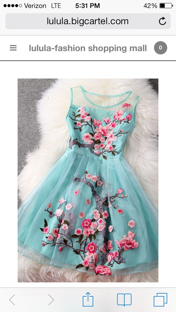 dress sleeveless dress mint floral hair accessory blue pink flowers