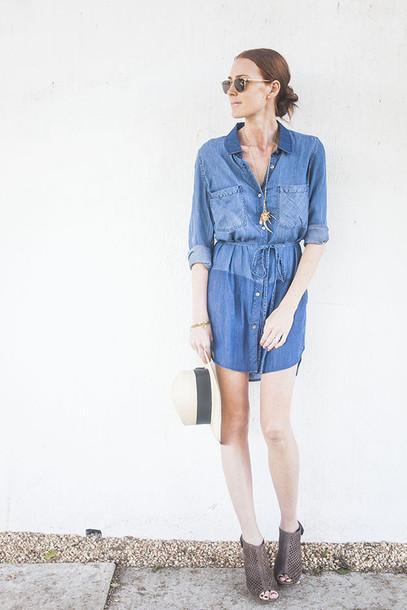 could i have that blogger dress denim dress shoes hat sunglasses jewels