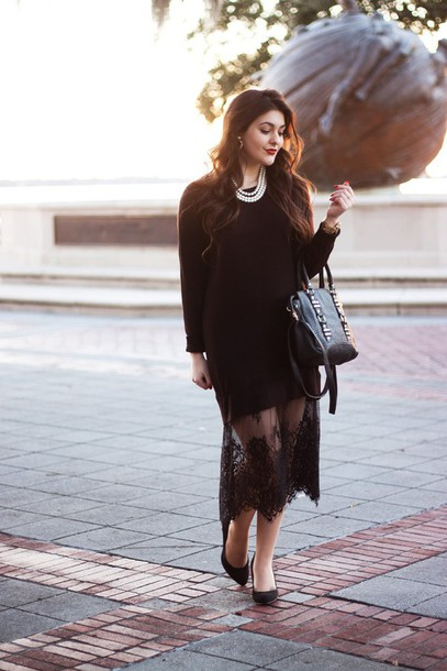 carly maddox blogger lace skirt black sweater handbag sweater dress tights bag t-shirt jeans shoes jewels