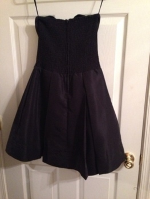 Bow Front Black Strapless Dress