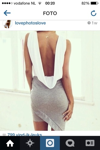 shirt white backless low cut back