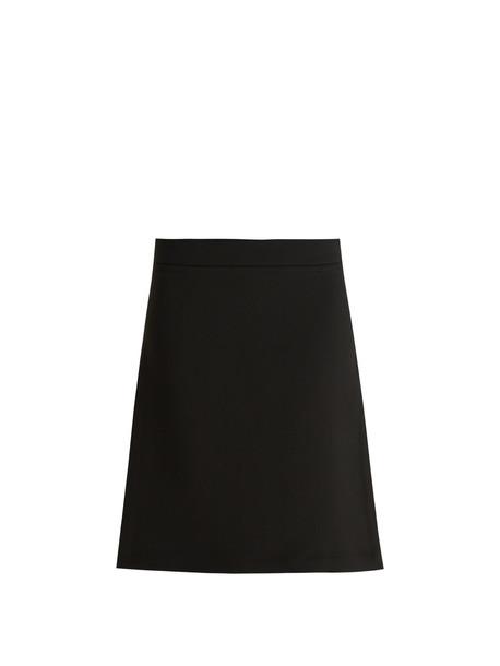 RAEY Split-side crepe A-line skirt in black
