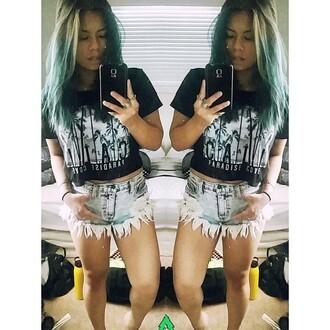 teal crop tops selfie cut off shorts ring girly grunge soft grunge grunge style