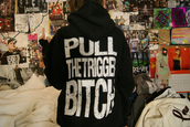 sweater,suicide silence,jumper,pull the trigger bitch,tumblr,black,quality,poster,clothes,black and white