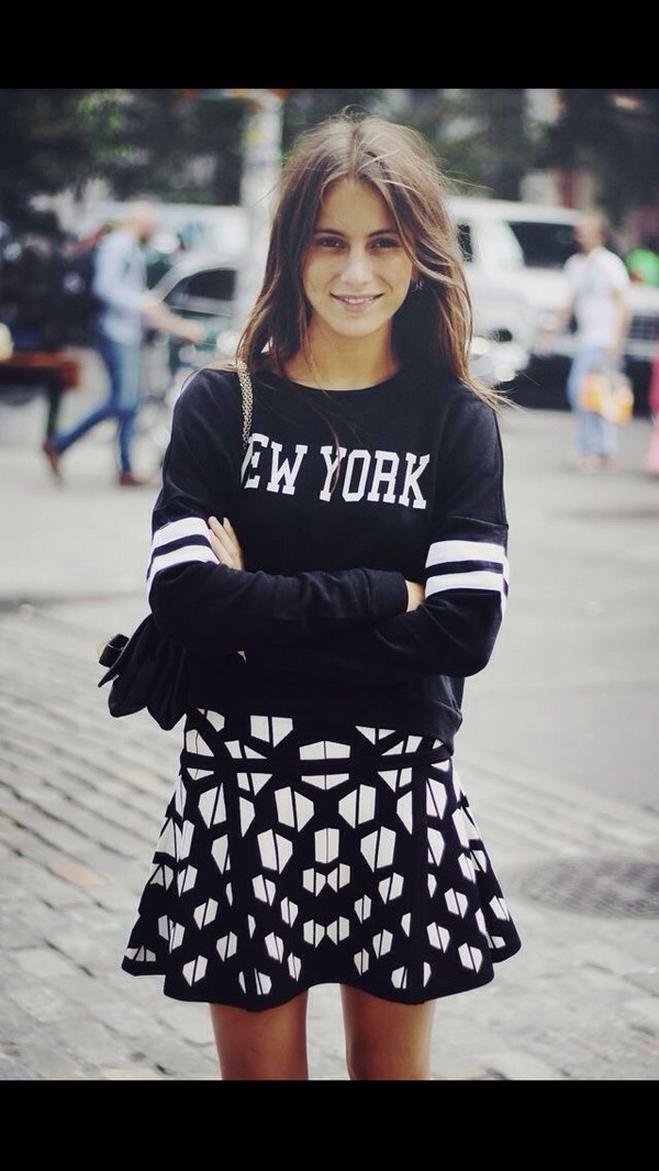 black new york city white cozy sweater