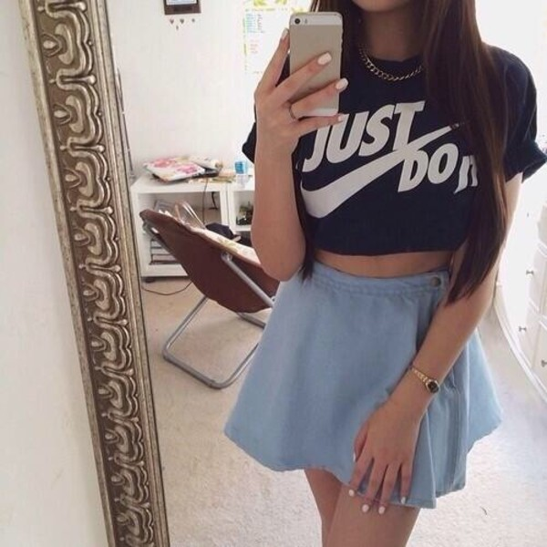 shirt nike skirt t-shirt black crop tops just do it top