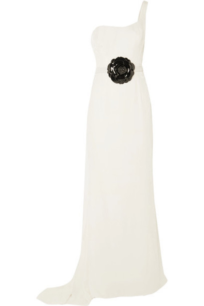 oscar de la renta gown embellished white velvet dress