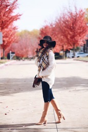 fashionably kay,blogger,sweater,scarf,jeans,shoes,bag,hat,felt hat,tartan scarf,oversized sweater,knee high boots,high heels boots,skinny jeans