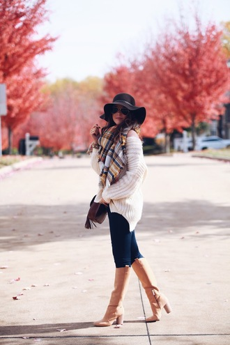 fashionably kay blogger sweater scarf jeans shoes bag hat felt hat tartan scarf oversized sweater knee high boots high heels boots skinny jeans