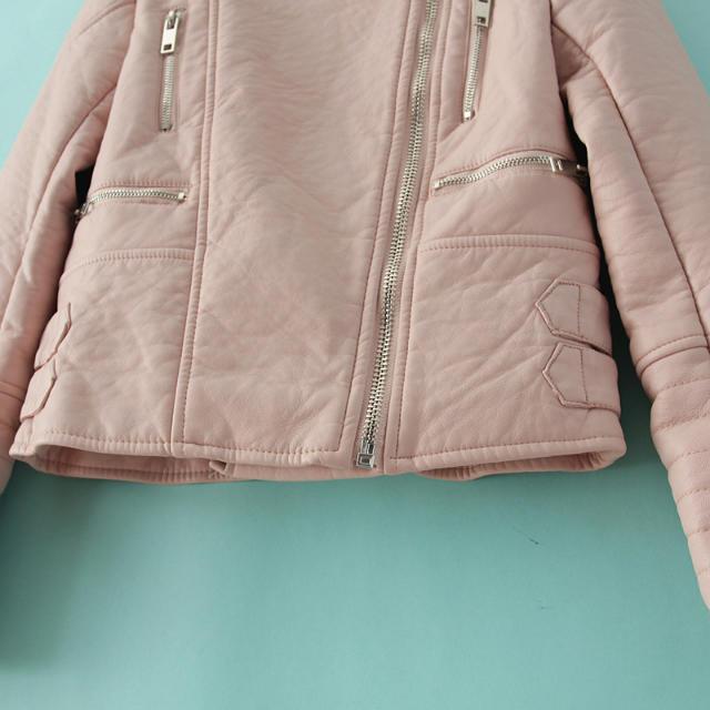 Pink long sleeve zipper crop pu leather jacket