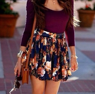 skirt t-shirt shirt floral style floral skirt pretty skirt scarf floral girly trill floral floral skirt high waisted