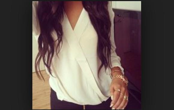 top long sleeves blouse criss cross girly nice cuter beige want want want! chiffon blouse chiffon