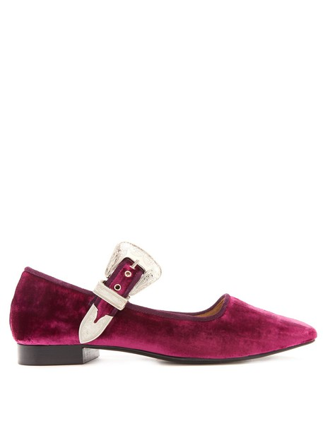 Toga ballet flats ballet flats velvet pink shoes