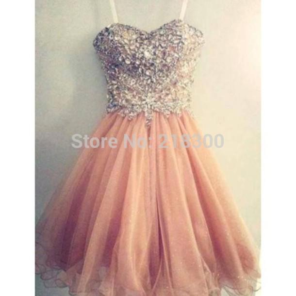 Aliexpress.com : Buy Crystals short prom dresses peach homecoming ...