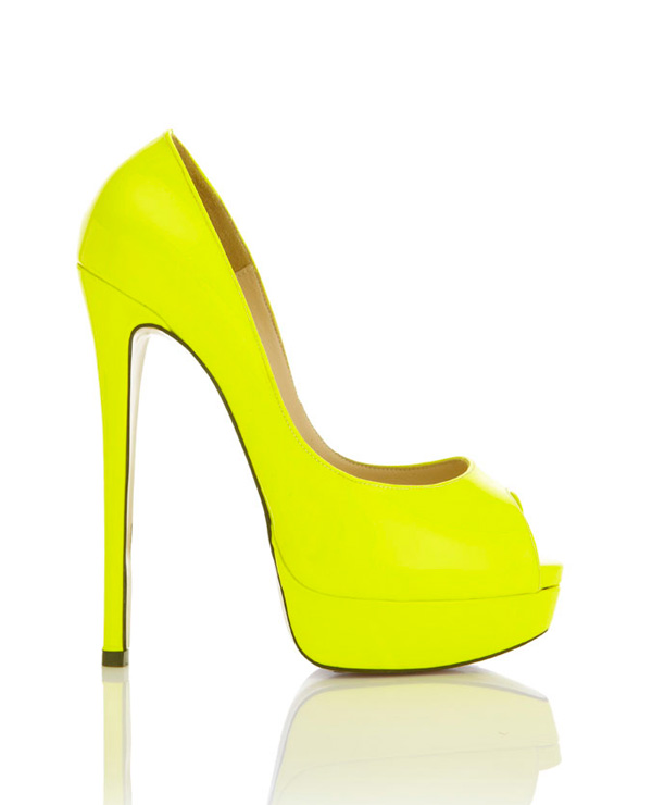 Shoes : 'L.A' Acid Yellow Peep-Toe Leather High Heeled Pumps