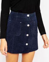 skirt,blue suede skirt,blue skirt,mini skirt,button up skirt,top,black top,suede skirt
