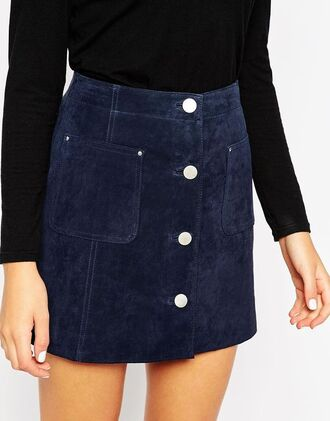 skirt blue suede skirt blue skirt mini skirt button up skirt top black top suede skirt