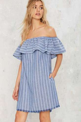 dress off the shoulder off the shoulder dress summer dress ruffle ruffled top ruffle dress striped dress stripes blue dress mini dress
