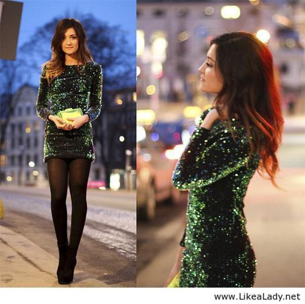 Dress: green dress, green, glitter dress, glitter, short dress ...