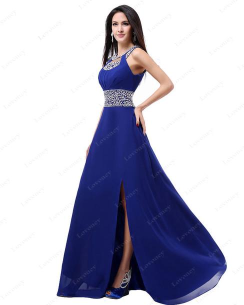 Dress: royal blue dress, blue long evening dress, sexy prom dress ...
