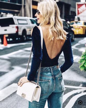 top open back open back top open back bodysuit sexy blue top velvet bodysuit bag white bag