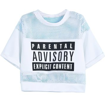 Sheinside Women's Contrast Hollow Mesh Yoke Letters Print Top on Wanelo