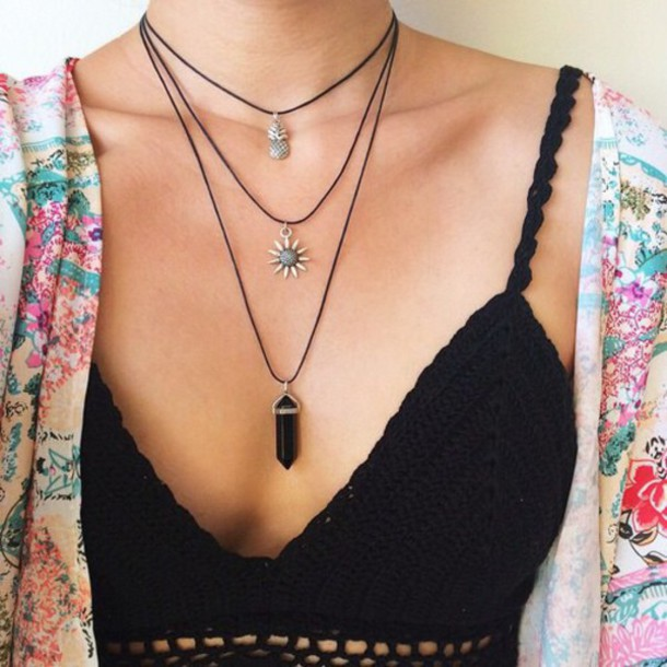 top jewels black black bralette grunge jewelry dress choker necklace layered necklace pineapple necklace festival coachella style shirt knit crop bohemian jewelry grunge layered choker necklace black choker tumblr crystal black jewelry sun underwear bralette string charm cute grune