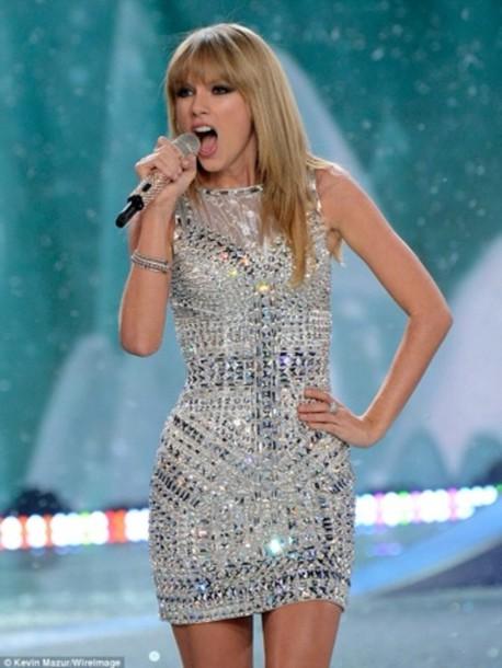 dress taylor swift sparkle victoria's secret sparkly dress glitter glitter dress silver diamonds silver dress short dress cute party party dress