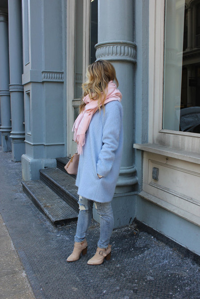 a fashion love affair coat scarf bag jeans shoes
