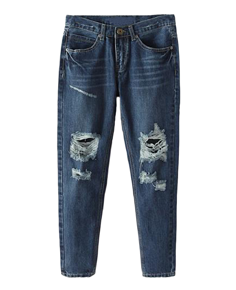 Rise distressed denim pants