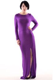 dress,popcouture,ladies,rexane,long sleeves,slit,front,maxi dress,purple