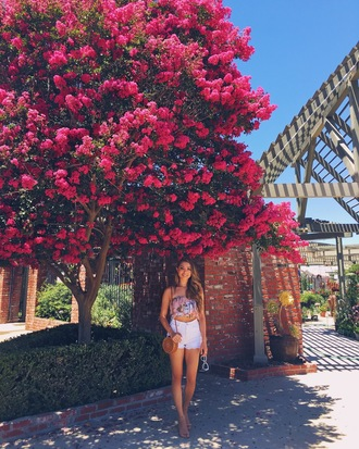 hapa time blogger top shorts shoes bag round bag sandals crop tops summer outfits high waisted shorts