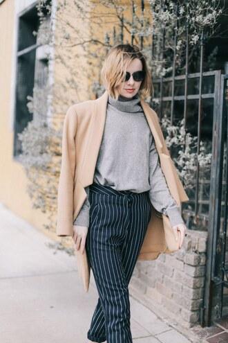sweater coat tumblr grey sweater turtleneck turtleneck sweater pants stripes striped pants camel camel coat sunglasses