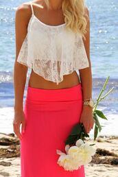 tank top,skirt,jewels,top,blouse,cream lace shirt,hot pink skirt,white crop tops,shirt,white,white lace,white top,crop tops,maxi skirt,pink