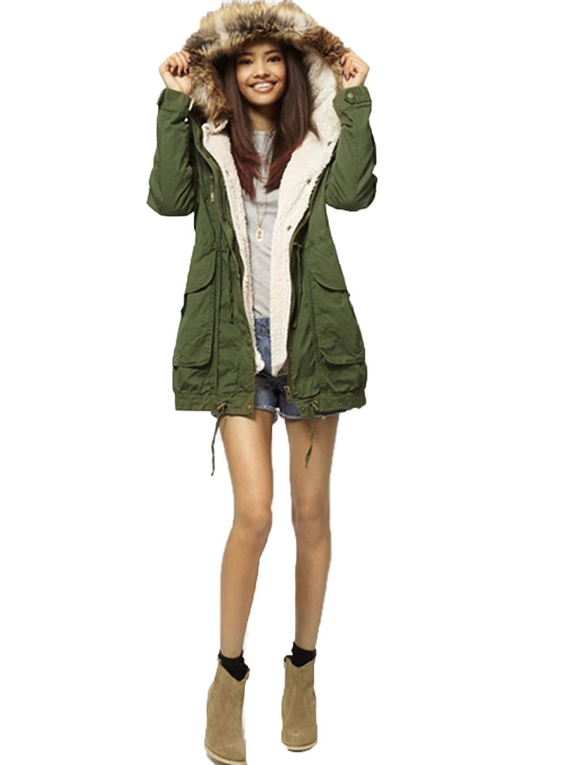 Women's Parka Hooded Long Trench Overcoat Casual Coat Jacke at ...