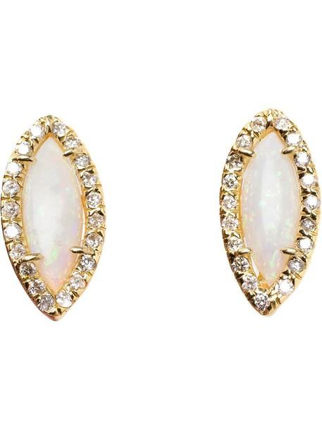 women opal earrings stud earrings gold white yellow grey metallic jewels