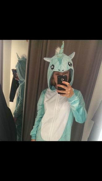 jumpsuit blue unicorn cute light blue onesie animal