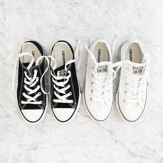 shoes converse white black black shoes white shoes sneakers white sneakers black sneakers low top sneakers girly back to school college casual
