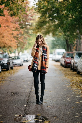 see jane blogger scarf jacket jeans shoes fall outfits tartan scarf beige jacket ankle boots shoulder bag