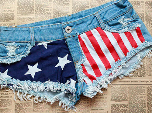 Free Shipping New Women Fashion Short Denim Cowboy USA Flag Short Pants Shorts on Luulla